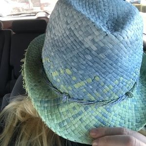 Tommy Bahama Accessories - Tommy Bahama Blue and Green Straw Hat